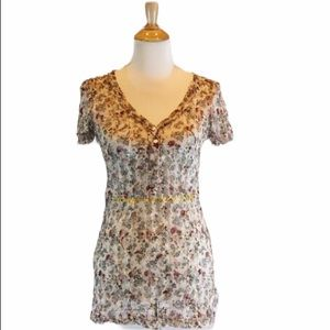 {BKE} Floral Lace Short Sleeve Blouse
